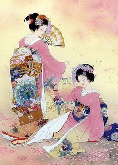 Love the geisha, very pretty japanese art. Art Geisha, Geisha Kunst, Asian Artwork, Art Asiatique, Art Japonais, Japanese Prints, Japanese Kimono, Japanese Art Modern, Japanese Painting