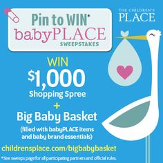 1.Create a board on Pinterest including your must-have baby items  2. Include the hashtag #bigbabybasketsweeps in the description of your favorite pin  3. Copy and paste the link of your favorite pin in the entry form found at www.childrensplac... Good luck!