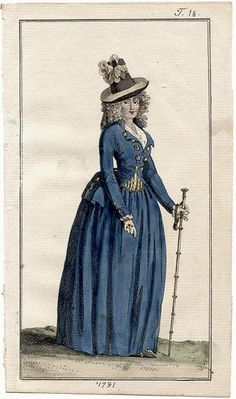 Journal des Luxus, 1791. Exquisite blue riding habit! Love the striped waistcoat peeking out and that fabulous hat.