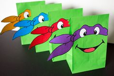 Teenage Mutant Ninja Turtles Party Favor Bags -- DIGITAL -- Printables for TMNT Bags