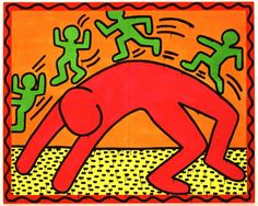 Keith Haring was an American artist know for his graffiti style art. His art was inspired by cartoons and graffiti. Dr.Seuss and Walt Disney also influenced his artistic style. Haring's art shows people in may different posses, doing different things. Look at the art on this page. Can you tell what the people are doing? …