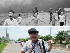 """Top, Nick Ut's iconic """"Napalm Girl"""" photo taken 43 years ago Monday. Bottom, Ut visits the spot where he snapped the iconic image."""