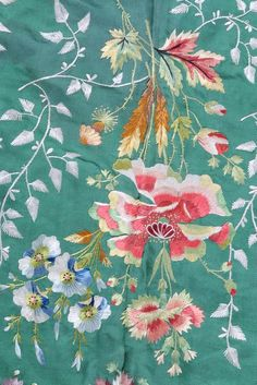 Detail embroidery, stole, France, c. 1790-1810. Shot-green silk, the deep borders worked with naturalistic floral sprays, sprigged ground and foliate banded borders.