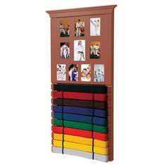 """• A great way to display all achievements leading up to black belt • Ten level belt display holds ten total photos; nine 5"""" H X 3-3/4"""" W frames and one larger photo in the center Mounting hardware included Belts sold separately Imported  Size: 10 Level: 38"""" WIDE X 20"""" TALL"""