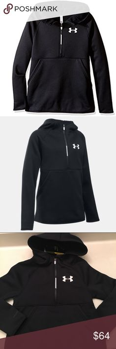 Under Armour Girls' Armour Fleece 1/2 Zip Hoodie Armour Fleece fabric finished with highly water-resistant UA Storm technology. Soft, brushed inner layer traps heat for all-day warmth and comfort. Signature Moisture Transport System wicks sweat to keep you dry and light. Raglan sleeves unlock mobility for superior range of motion. Contrast binding detail. Front side hand pockets. Color blocked half zipper.             100% Polyester Soft, brushed inner layer traps heat for all-day warmth and…