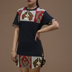 Unisex Afrination Ankara Longline T-Shirt - Afrination By Kofi Jr.
