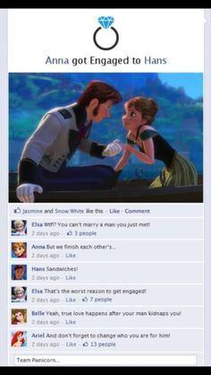 Anna x Hans Disney Frozen funny social media