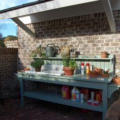 Southern Living Idea House in Senoia Georgia: Tour the Outdoor 'Rooms' potting bench with sink Potting Bench With Sink, Potting Tables, Outdoor Sinks, Outdoor Rooms, Outdoor Living, Outdoor Patios, Outdoor Kitchens, Outdoor Camping, Senoia Georgia
