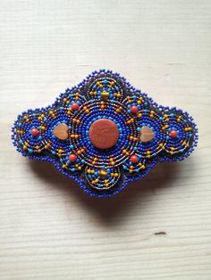 Beaded Barrette ~ handmade hair accessory~ royal blue hair clip~ carnelian and amber focal beaded hair barrette - pinned by pin4etsy.com