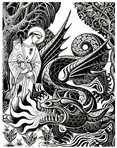 Saint Leonard and the Dragon - illustration by Eric Fraser from Folklore Myths and Legends of Britain 1973.