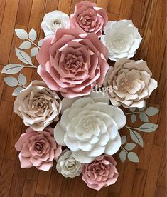 10 pc set mixed sizes Paper Flower, Nursery, Girls Room, paper flowers, Paper Flower Wall Decor, Customize your colors #catchmyparty #paperflowerbackdrop #paperflowerpartydecorations