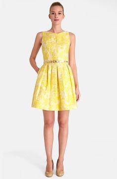 Tahari Floral Brocade Fit & Flare Dress (Petite) | Nordstrom