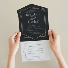 """""""Vision"""" - Customizable All-in-one Foil-pressed Wedding Invitations in Black by carly reed walker. Reception Card, Wedding Reception, Wedding Stationery, Wedding Invitations, Clear Stickers, Wedding Favor Tags, Custom Stamps, Wedding Website, Wedding Programs"""
