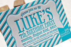 Blue-Letterpress-Striped-Birthday-Party-Invitations, by Rachelle from Wiley Valentine