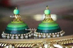 Beautiful green paper jhumka on www.facebook.com/hasthakala2014