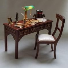Dollhouse Miniature Filled Jiayi Table and matching Chair