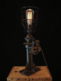Table Lamp Upcycled Vintage Car Jack by BenclifDesigns on Etsy