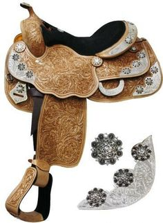 """16"""" Fully tooled Double T Show saddle with a suede leather seat via Moonstruck Creek. Click on the image to see more!"""