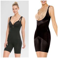 6fc48875422 SPANX ASSETS Open Bust Mid Thigh Bodysuit Shaper Black 2271 A Size XL NEW