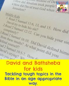 David and Bathsheba for kids (tackling tough topics in the Bible in age appropriate ways)