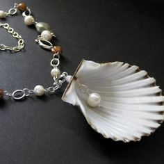 Fresh Water Pearl Necklace with Scalloped Seashell Pendant