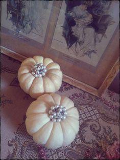 Pumpkin bling  #fall #autumn #thanksgiving #decor #shabby #chic #cottage #pumpkin #white #neutral #brooch #jewelry #pearls #rhinestone