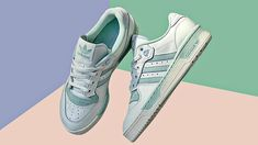 You Can Score These Adidas Sneakers With Soft Pastel Accents on Sale Cute Sneakers, Adidas Sneakers, Hot Stories, Teal Accents, Sporty Look, Retail Therapy, Athletics, Ph, Pastel