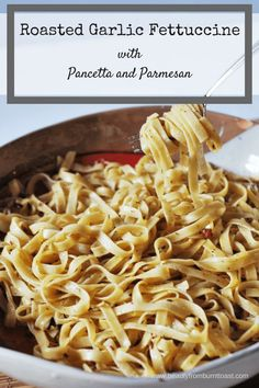 The best meals are often the simplest. And when keeping it simple, it's best to keep it quality. This roasted garlic fettuccine with pancetta and parmesan does that, using just 5 star ingredients to put a restaurant worthy meal on your table in no time. New Recipes, Dinner Recipes, Amazing Recipes, Italian Recipes, Recipies, Family Recipes, Summer Recipes, Delicious Recipes, Easy Recipes