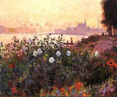 """Claude Monet: """"Argenteuil, Flowers by the Riverbank"""""""