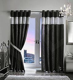 VELVET STYLE DIAMANTE THERMAL BLACKOUT Eyelet Ring Top Door Curtain Including Matching TIE BACK, by VICEROY BEDDING (66'' x 84'', Black)