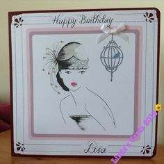 An 8 x 8 inch card. Can easily be personalised. Handmade
