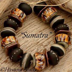 SUMATRA - Handmade Lampwork Glass Bead set by HavanaBeads.etsy.com