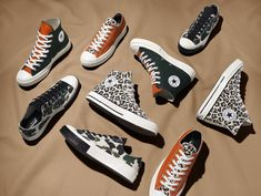 Throwing it back to our wild side, the archive collection features some of our bolder styles like camp, flames, and animal print. Bold Fashion, Fashion Shoes, Mens Fashion, Converse Star, Converse Shoes, Converse Design, Nike Basketball Shoes, Lucky Star, Cheetah Print