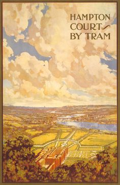 Hampton Court by tram, by Charles Sharland, 1913