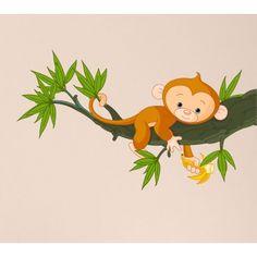 Sticker Singe Branche, Autocollant Singe Mignon, Stickers Animaux, Adhésifs pour Enfants : Deco Soon