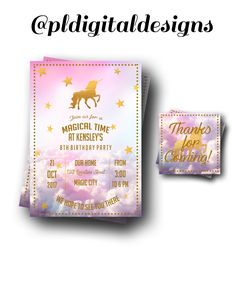 A personal favorite from my Etsy shop https://www.etsy.com/listing/525466616/unicorn-invitations-unicorn-party