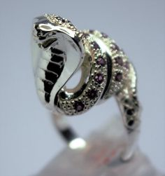 Silver snake seam of the tourmaline ring rose by alankacreations