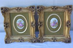 Vintage Gold Frame French Cameo Set Pair by PetitFarmhouse on Etsy