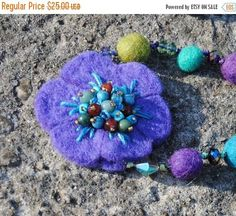 CLEARANCE SALE Felted Wool and Crystal Necklace  Beaded