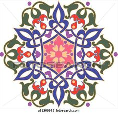 Green, blue, pink, red and purple flower pattern Arabesque Design View Large Clip Art Graphic