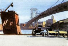 Edward Hopper  Manhattan Bridge | 1925-1926. Watercolor on paper. 35,4 x 50,5…