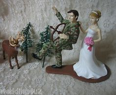 Humorous Wedding Deer Camo Bow Hunter Hunting Cake Topper | eBay Themed Wedding Cakes, Fall Wedding Cakes, Wedding Cake Toppers, Themed Cakes, Hunting Wedding, Deer Wedding, Wedding Day, Wedding Stuff, Camo Bows