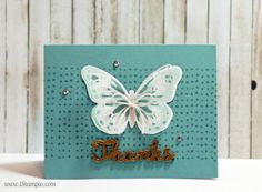 A simple and elegant thank you card using Watercolor Wings stamp set by Stampin' Up!. Visit www.iStampin.com to learn more.