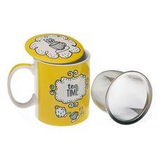 "Taza amarilla de infusión ""Breakfast time"" #cocina #taza #casa #versa 