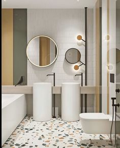 Modern Home Decor The family bathroom that the kids frequent has striped yellow, green and white decor, with a matching terrazzo floor. Two bathroom sinks reduce sibling squabbles over wash space in the mornings. Salon Interior Design, Bathroom Interior Design, Modern Interior Design, Modern Interiors, Restroom Design, Interior Livingroom, Luxury Interior, Bad Inspiration, Bathroom Inspiration