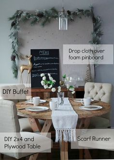 Beautiful and welcoming Christmas table setting - lots of DIY details! The table, buffet, pinboard... LOVE!