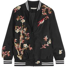Alice + Olivia Lila embroidered silk bomber jacket (10.168.845 IDR) ❤ liked on Polyvore featuring outerwear, jackets, silk slip, zip jacket, blouson jacket, embroidered bomber jacket and silk bomber jacket