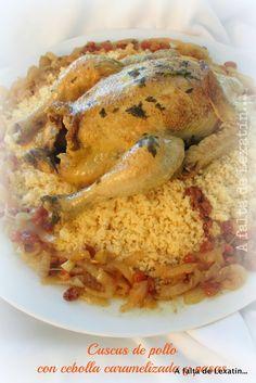 A falta de Lexatín... buenas son tortas: Cuscus de pollo con cebolla caramelizada y pasas