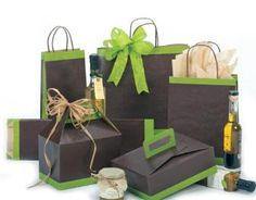 Wine and Gourmet Food Packaging, Brown & Green Boxes and Gift Bags