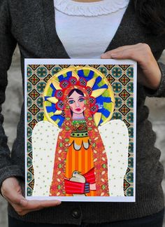 Virgin of Guadalupe art angel/ mexican folk art